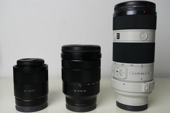 SEL55F18ZとSEL1635ZとSEL70200Gの比較