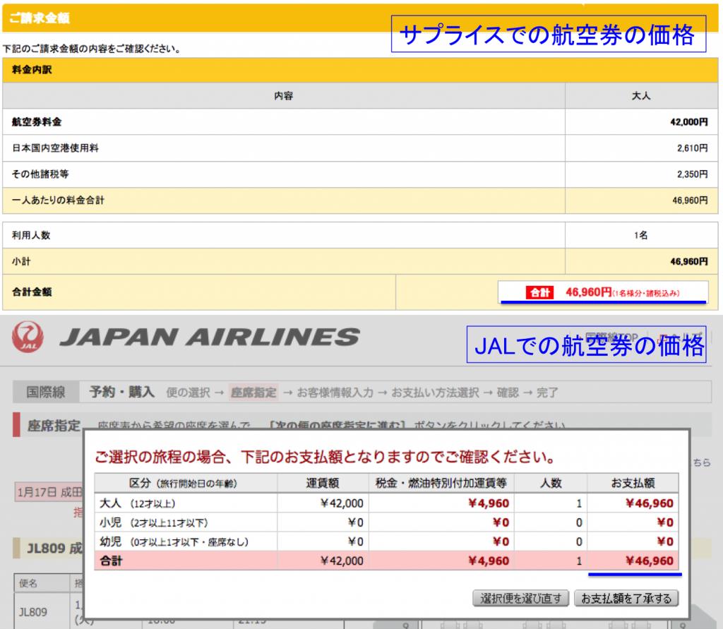 航空会社HP経由と旅行予約サイト経由の航空券の価格の違い